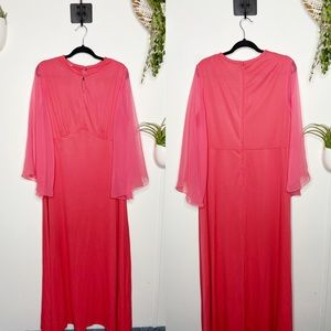 Vintage 1970s Coral Angel Sleeve Maxi Dress 16/18